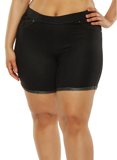 Plus Size Denim Knit Shorts,BLACK,large