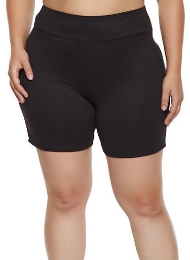 Plus Size Soft Knit Bike Shorts | 1960062701771,BLACK,large
