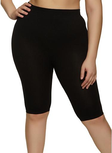 Plus Size Knit Bike Shorts,BLACK,large