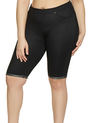 Plus Size Denim Knit Bermuda Shorts | 1960062703250,BLACK,large