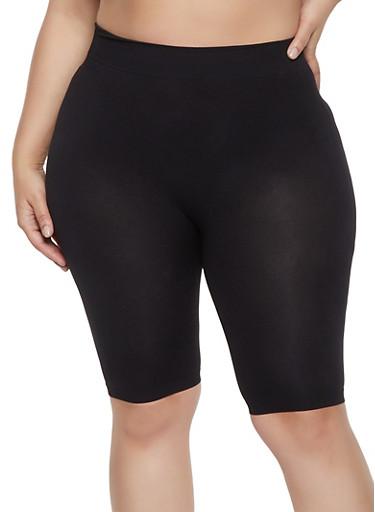Plus Size Seamless Bike Shorts,BLACK,large