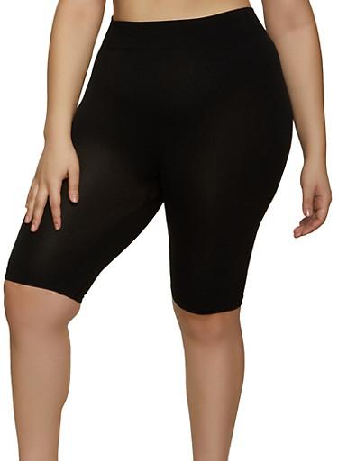 Plus Size Seamless Solid Bike Shorts,BLACK,large