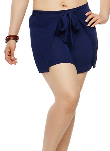 Plus Size Tie Front Shorts,NAVY,large