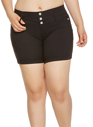 Plus Size Stretch Shorts,BLACK,large