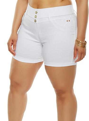 Plus Size Stretch Shorts,WHITE,large