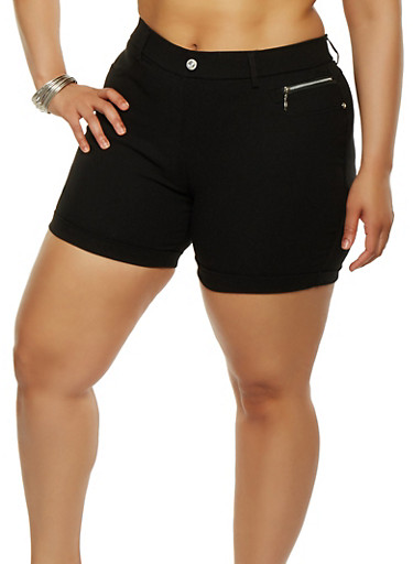Plus Size Cuffed Stretch Shorts,BLACK,large