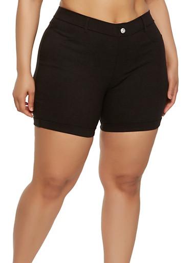 Plus Size Cuffed Stretch Shorts,BLACK,large