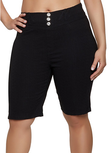 Plus Size Rhinestone Button Bermuda Shorts,BLACK,large