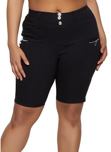 Plus Size Zip Detail Bermuda Shorts,BLACK,large