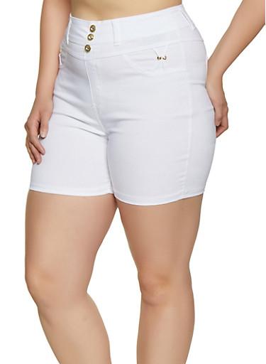 Plus Size High Waisted Shorts,WHITE,large