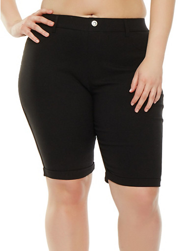 Plus Size Knit Cuffed Bermuda Shorts,BLACK,large