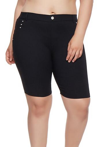 Plus Size Rhinestone Studded Bermuda Shorts,BLACK,large