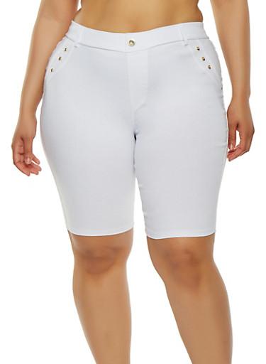 Plus Size Rhinestone Studded Bermuda Shorts | Tuggl