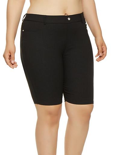 Plus Size Zipper Detail Bermuda Shorts,BLACK,large
