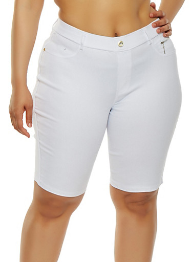 Plus Size Zipper Detail Bermuda Shorts | Tuggl