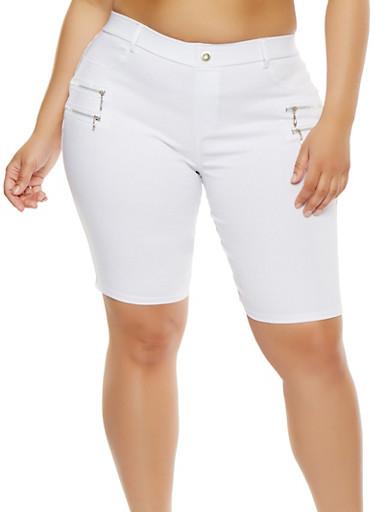 Plus Size Zipper Detail Stretch Bermuda Shorts,WHITE,large