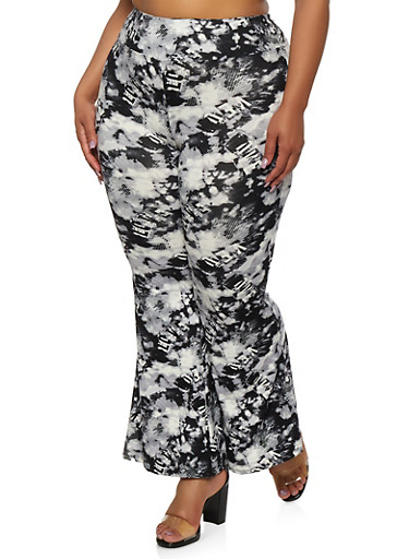 Plus Size Printed Flared Pants