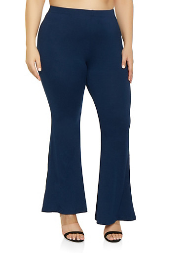 Plus Size Soft Knit Flared Pants,NAVY,large