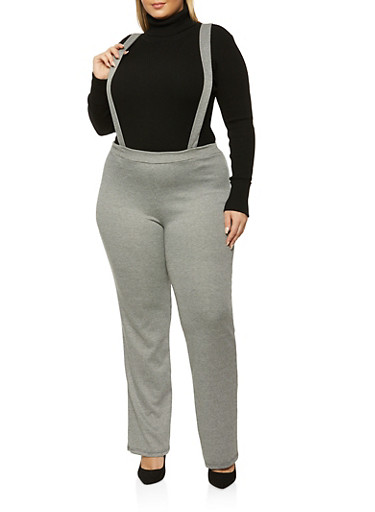 Plus Size Knitted Suspender Pants,BLACK,large