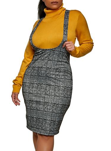 Plus Size Printed Suspender Skirt,BLK PTN,large