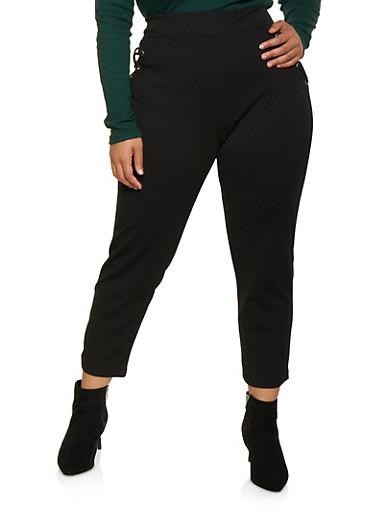 Plus Size Lace Up Pull On Pants,BLACK,large