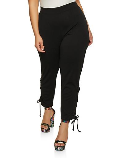 Plus Size Lace Up Hem Pants,BLACK,large