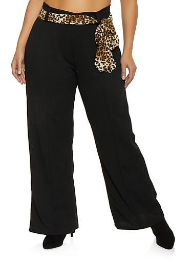 Plus Size Tie Waist Dress Pants,BLACK,large
