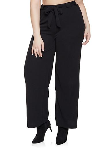 Plus Size Tie Front Palazzo Pants,BLACK,large