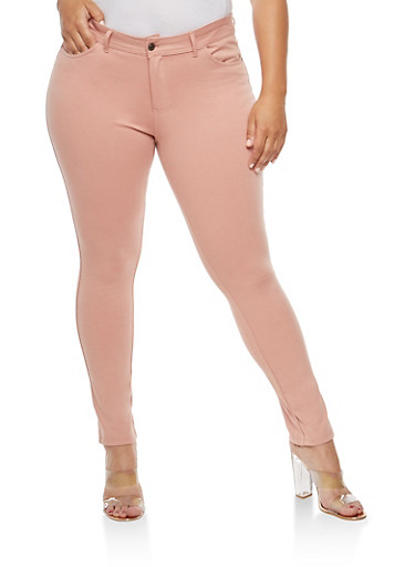 Plus Size Solid Jeggings,MAUVE,large