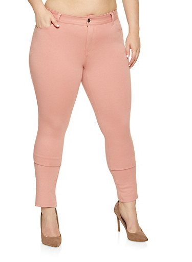Plus Size Solid Jeggings,PINK,large
