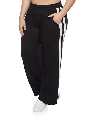 Plus Size Varsity Stripe Pants,BLACK,large