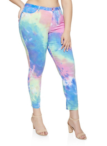 Plus Size Hyperstretch Tie Dye Jeggings,BLUE,large