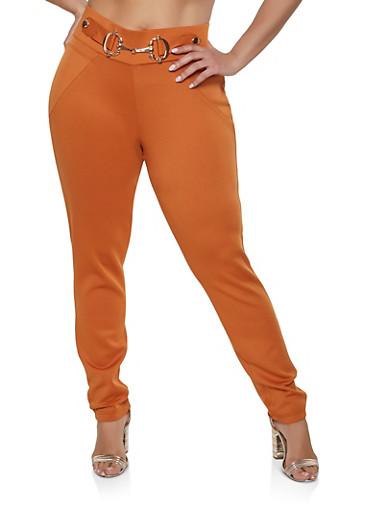 Plus Size Buckle Detail Scuba Pull On Pants,RUST,large