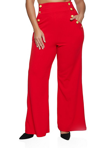 Plus Size Crepe Sailor Pants,RED,large