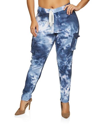 Plus Size Tie Dye Stretch Cargo Pants,BLUE,large