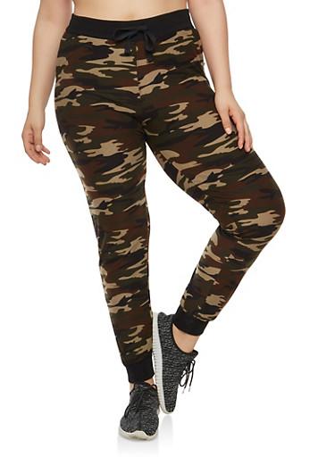 Plus Size Soft Knit Camouflage Joggers,BLACK,large