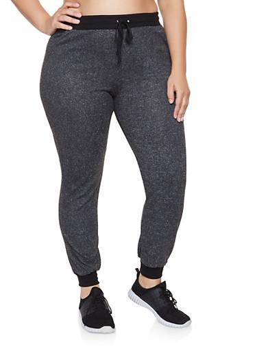 Plus Size Brushed Knit Joggers,BLACK,large