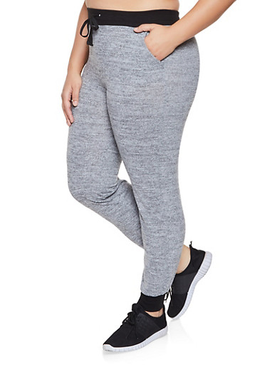 Plus Size Brushed Knit Joggers,GRAY,large