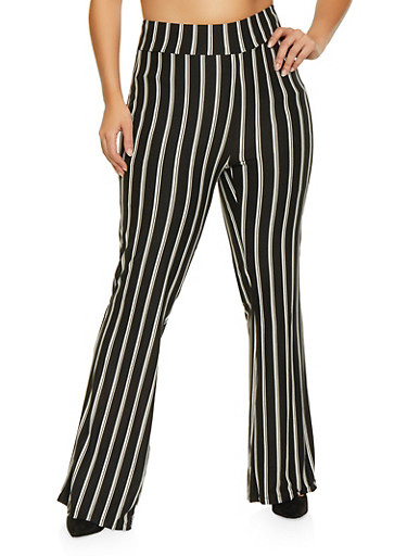 Plus Size Striped Bell Bottom Pants,BLACK,large