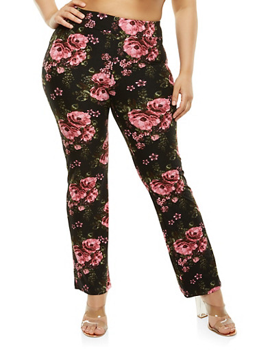 Plus Size Floral Flared Pants,BLACK,large