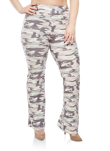 Plus Size Camo Print Flared Pants | Tuggl