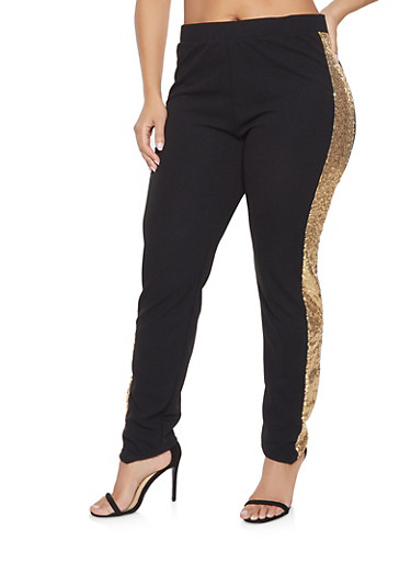 Plus Size Sequin Trim Crepe Knit Pants,BLACK,large