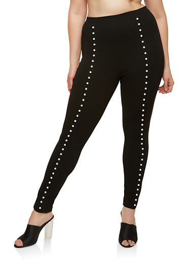 Plus Size Faux Pearl Accented Skinny Pants,BLACK,large