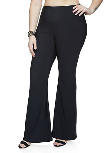 Plus Size Flared Pull On Pants,BLACK,large