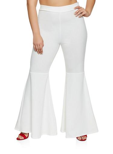Plus Size Flared Stretch Crepe Knit Pants,IVORY,large