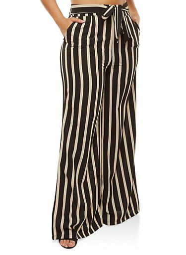 Plus Size Striped Tie Front Palazzo Pants,BLACK,large