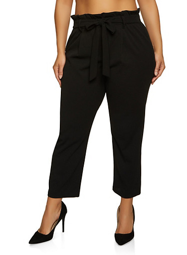Plus Size Crepe Knit Paper Bag Waist Pants,BLACK,large