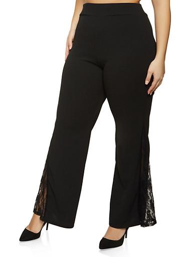 Plus Size Lace Insert Crepe Knit Pants,BLACK,large