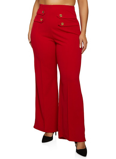 Plus Size Pintuck Crepe Knit Palazzo Pants,RED,large