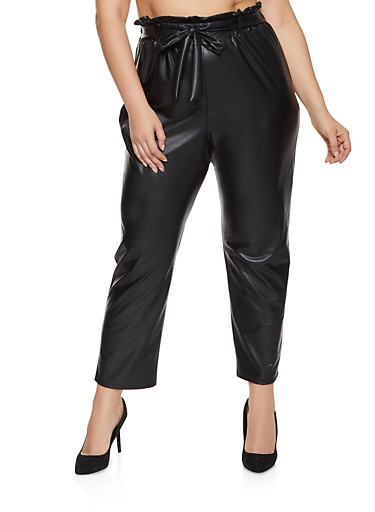 Plus Size Faux Leather Tie Paper Bag Waist Pants,BLACK,large